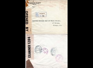 Island 1940, WW II Bank Einschreiben Brief v. Reykjavik m. Zensur n. USA