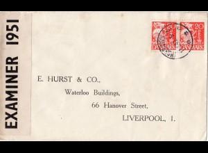 Faeroer 1942, WW II Zensur Brief m. 2x DK 20 öre v. THORSHAVN n. GB