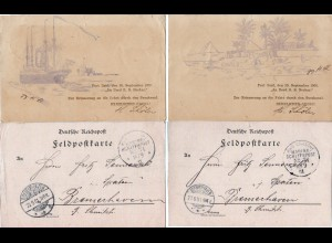 DR 1901, KD Marine Schiffspost No. 71, 2 FP-Karten v.d. Heimreise v. China