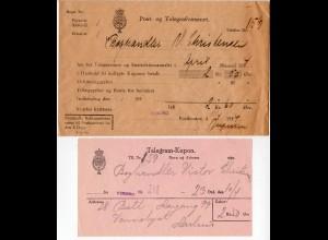 Dänemark 1934, Telegramm-Kupon nebst offiziellem Post Umschlag v. VIBORG