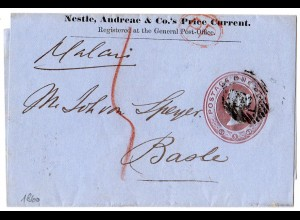 "GB 1860, partly prepaid wrapper to Switzerland. Swiss domestic fee ""5"" C."