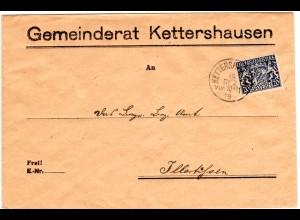 Bayern 1919, 20 Pf. Dienst auf Gemeinderat Brief m. K1 Kettershausen. Geprüft.