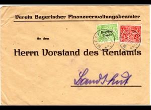 Bayern 1920, 5+15 Pf. Dienst auf Verwaltungs Brief v. K2 MIESBACH n. Landshut