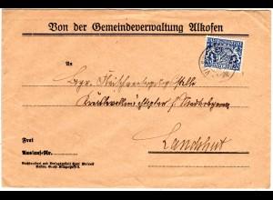 Bayern 1919, 20 Pf. Dienst auf Gemeide Brief v. ALKOFEN m. K2 VILSHOFEN. Geprüft