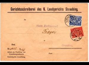 Bayern 1919, 10+20 Pf. Dienst auf Brief m. STRAUBING R Reservestempel. Geprüft