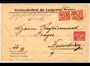 Bayern 1919, 10+2x30 Pf. Dienst auf Brief v. STRAUBING . Geprüft