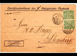 Bayern 1919, 2x 7 1/2 Pf. Dienst auf Brief v. VIECHTACH . Geprüft