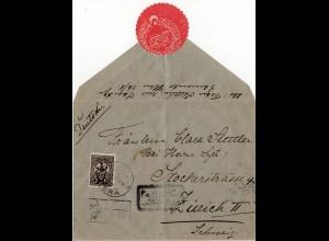 Türkei 1917, 2 Pia. Käfer Aufdruck auf Reko Zensur Brief v. PERA i.d. Schweiz