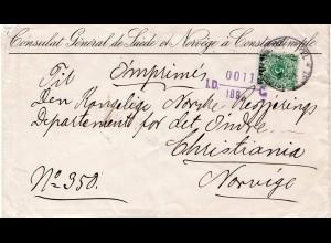 D.P. Türkei 1895, EF 10 P/5 Pf au Drucksache Brief v. Constantinopel n. Norwegen