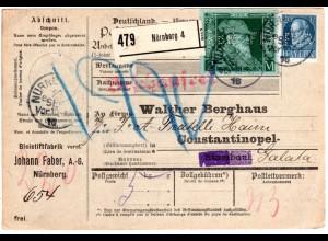Bayern 1916, 2 Mk.+20 Pf. m. perfin auf Paketkarte v Nürnberg i.d. Türkei