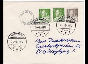 Grönland 1974, 3 Marken u. K1 POSTAGE PAID auf Brief v. KANGERDLUGSSUAK