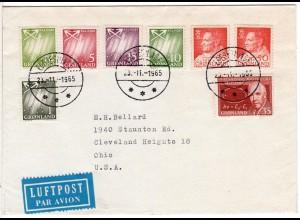 Grönland 1965, 8 Marken auf Luftpost Brief v. Egedesminde n. USA