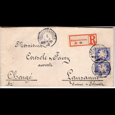 Bayern 1888, 2x20 Pf. auf Einschreiben Brief v. ASCHAFFENBURG i.d. Schweiz