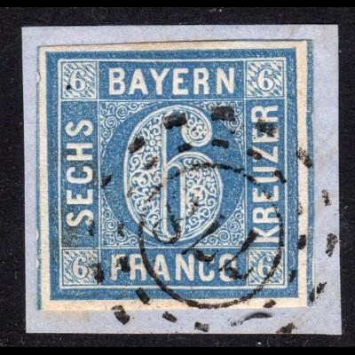 Bayern 10, breitrandige 6 Kr. hellblau auf Briefstück m. oMR 778 LINDENBERG