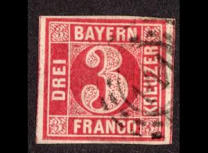 "Bayern 9 PF4, breitr. 3 Kr. m. Plattenfehler ""Eckwinkel"" u. oMR 141 FRIEDBERG"