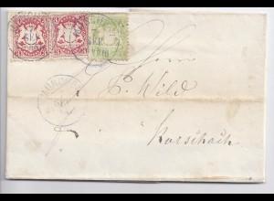 Bayern 1872, attraktiver Brief m. Buntfrankatur v. München i.d. Schweiz. #342