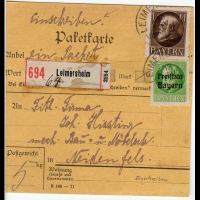 Bayern 1919, 1 Mk.+5 Pf. Freistaat auf Einschreiben Paketkarte v. LEIMERSHEIM