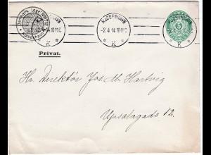 Dänemark 1914, gebr. 5 öre Ganzsache Brief m. Eindruck Freimaurer DK Loge No.712