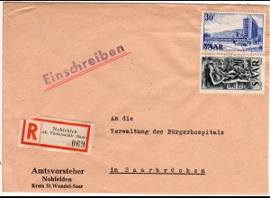 Saar 1955, 20+30 F. auf Einschreiben Brief v. NOHFELDEN üb. Türkismühle