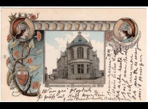 Gruss aus Bremerhaven, Gymnasium, 1903 gebr. Litho-AK m. Wappen u. Eulen