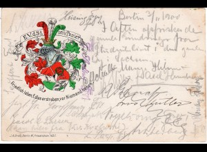E.V.d.St. sei´s Panier!, 1900 ab Berlin n. Dänemark gebr. Studentica-Litho-AK