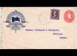 USA 1900, 3 C. auf 2 C. Ganzsache Brief v. Springfield m. Zudruck Dreh Maschine