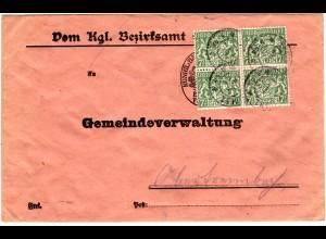 Bayern 1920, 4er-Block 7 1 /2 Pf Dienst auf Gemeinde Brief v. Eggenfelden. Gepr.