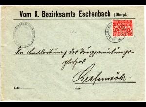 Bayern 1916, 15 Pf. Dienst auf Bezirksamts Brief v. Eschenbach. Geprüft.