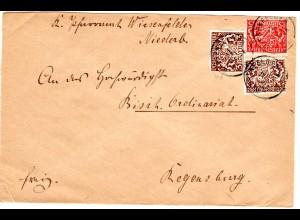 Bayern 1919, 15+2x3 Pf. Dienst auf Pfarramt Brief v. WIESENFELDE. Geprüft.