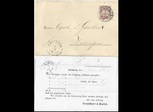 Bayern 1885, 5 Pf. auf Apotheke Firmen Karte v. Nürnberg n. Zellingen. #2823