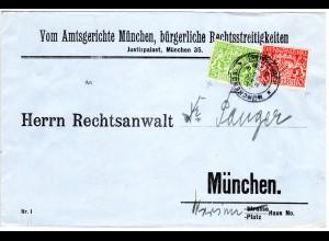 Bayern 1920, 5+10 Pf. Dienst auf Brief m. K2 München Justizpalast. Geprüft.