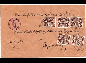 Bayern 1919, MeF 5x3 Pf. Dienst auf Pfarramt Brief v. KEMNATH b. Furth. Geprüft.