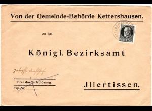 Bayern 1917, EF 25 Pf. Kriegssdruck auf Gemeinde Brief v. KETTERSHAUSEN