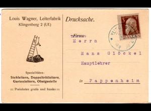 Bayern 1912, EF 3 Pf. Type I auf Firmen Drucksache Karte v. KLINGENBERG 2