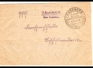 DR 1942, Landpost Stpl. SCHMIEDEFELD über Radeberg auf Brief m. Werbestempel