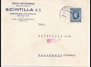 Slovensko Slowakei Schweiz 1942, Brief v. Bratislava m. Zensur Censor77. #369