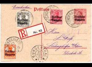 Bayern 1919, 3 Werte Freistaat auf Einschreiben Ganzsache v. SCHÖNAU Pf. Geprüft