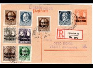 Bayern 1920, 8 Marken Zusatzfr. auf Reko Ganzsache v. München Justizpalast