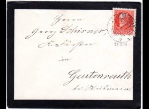 Bayern 1916, EF 10 Pf. Friedensdruck auf Trauer Brief v. LONNERSTADT. Geprüft.
