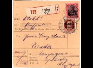 Bayern 1919, 75+80 Pf. auf Einschreiben-Paketkarte v. FISCHEN. Geprüft