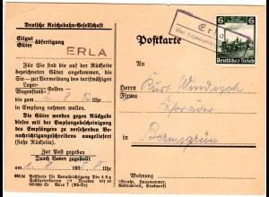 DR 1935, Landpost Stpl. ERLA über Schwarzenberg auf Bahn Karte m. 6 Pf. Dampflok