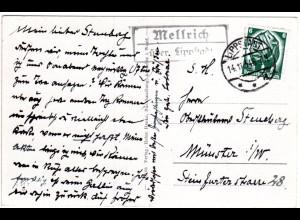 DR 1934, Landpost Stpl. MELLRICH über Lippstadt auf Karte m. 6 Pf.