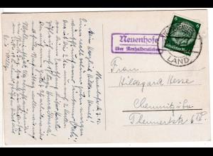 DR 1937, Landpost Stpl. NEUENHOFE über Neuhaldensleben auf Karte m. 6 Pf.