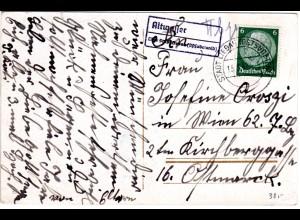DR 1942, Landpost Stpl. ALTWASSER über Stadt Liebau auf Karte m. 6 Pf.