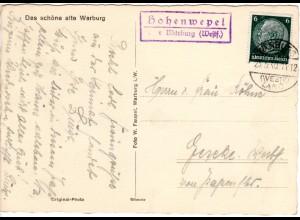 DR 1940, Landpost Stpl. HOHENWEPEL über Warburg auf Karte m. 6 Pf.