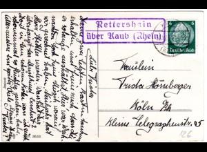 DR 1934, Landpost Stpl. RETTERSHAIN über Kaub auf Karte m. 6 Pf.