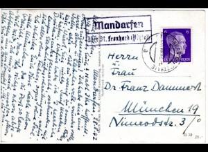 DR 1942, Landpost Stpl. MANDARFEN über St. Leonhard Pitztal auf Karte m. 6 Pf.