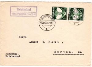 DR 1935, Landpost Stpl. KRIEBETHAL über Waldheim Sachsen auf Brief m. 2x6 Pf.