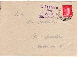 DR 1942, Landpost Stpl. SCHÖNAU über Salnau auf Brief m. 12 Pf. u. Stpl. Wallern