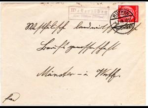 DR 1938, Landpost Stpl. Westereiden über Rüthen auf Brief m. 12 Pf.